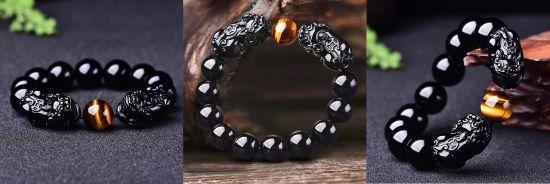 Magic Wealth & Success Obsidian Tiger Eye Pixiu Bracelet